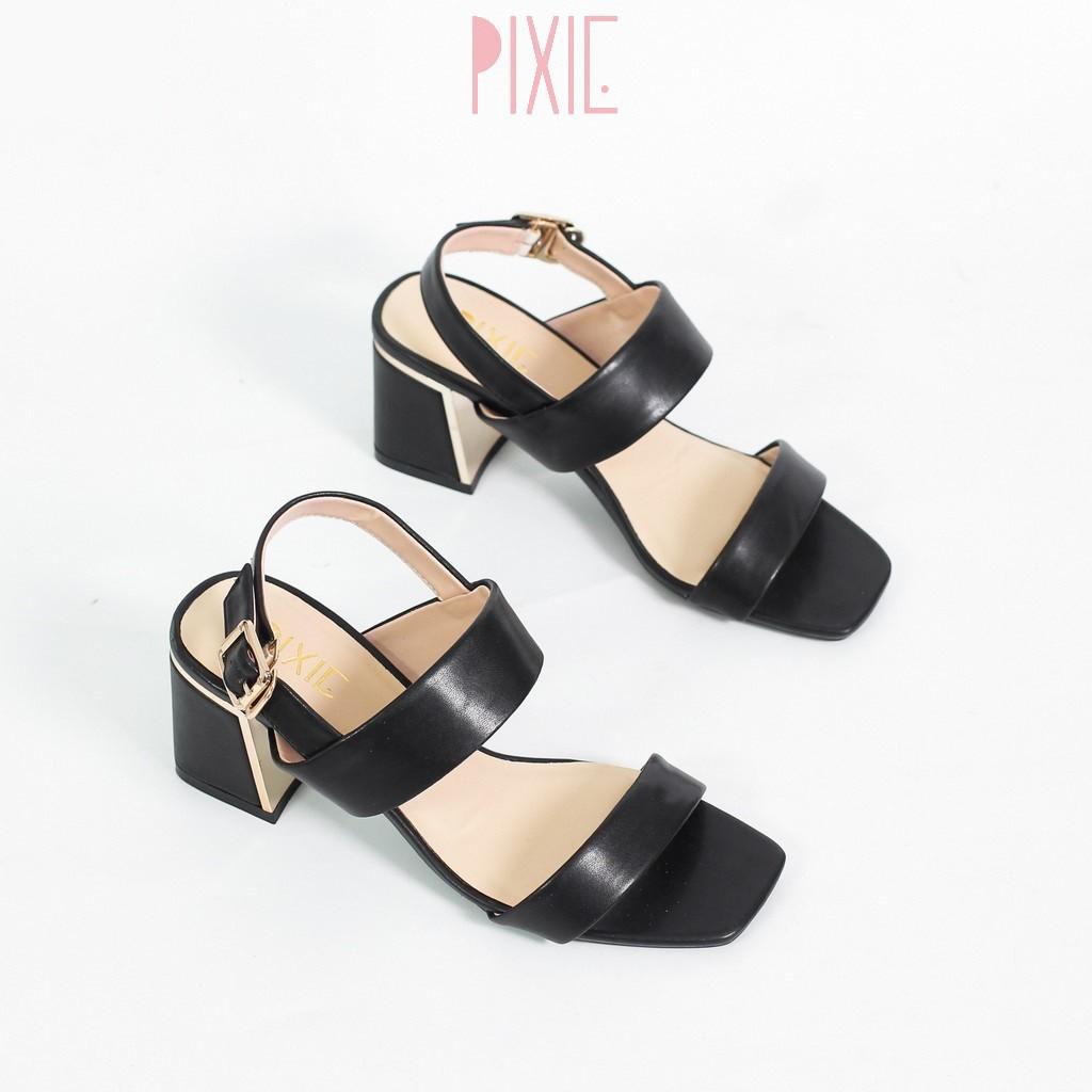 Giày Sandal Cao Gót 5cm Đế Vuông Ốp Đồng Quai Ngang Màu Đen Pixie X462