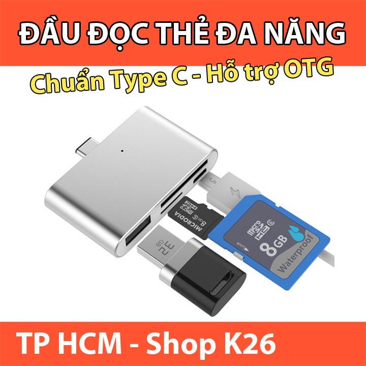 Đầu Đọc Thẻ Nhớ Đa Năng Chuẩn Type C Dùng Đọc Thẻ SD/TF Và Thiết Bị Giao Tiếp USB3.0/ MicroUSB Giá chỉ 135.000₫