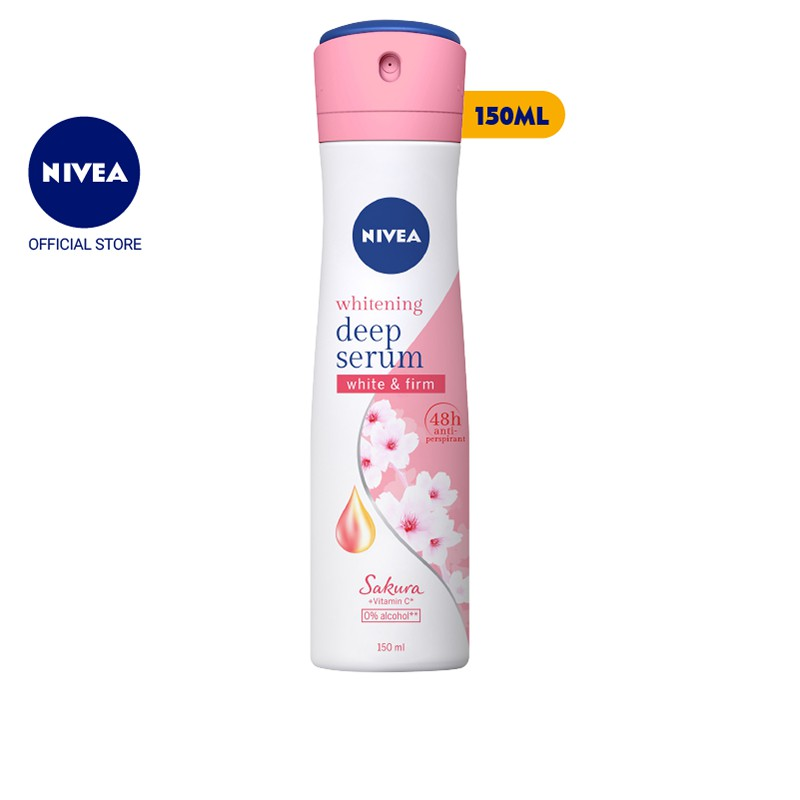 Xịt ngăn mùi Nivea serum trắng mịn hương hoa Sakura (150ml) – 85308