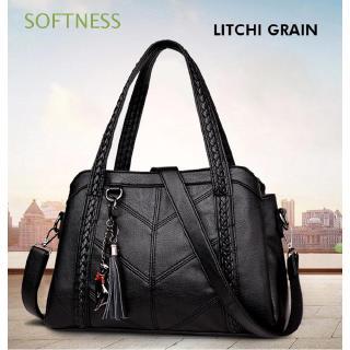 Túi xách chất liệu bằng da PU cỡ lớn phối tua rua cho nữ