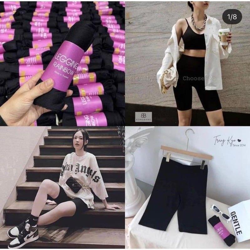 [ video - ảnh thật] Quần legging lửng nữ,short ngố nâng mông tập thể thao, đùi nữ mặc nhà màu Đen