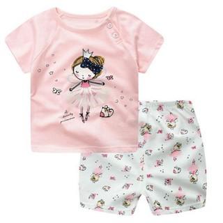 Bộ áo thun sát nách + quần ngắn cho bé gái