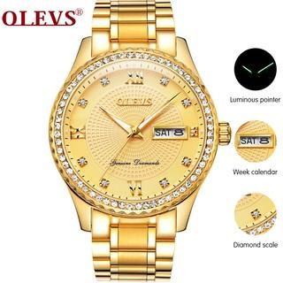 Đồng hồ OLEVS bộ chuyển động thạch anh màu vàng kim dây đeo bằng thép không gỉ