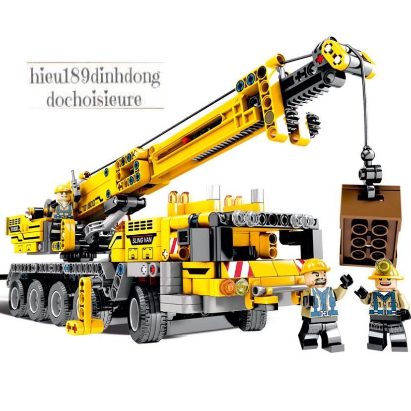 Lắp ráp xếp hình NOT Lego Technic Technique Sembo Block 701800 : Xe Cẩu Kỹ Thuật Cầu trục xây dựng...