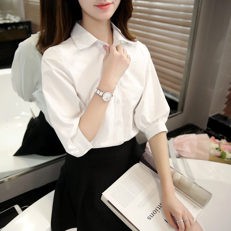 Áo sơ mi trắng nữ kiểu tay lỡ phong cách công sở Madela, Sơ mi trắng nữ, Áo kiểu nữ sơ mi tay lỡ đẹp - ASM02