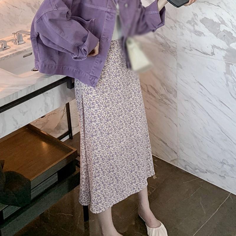 Chân Váy Dài Lưng Cao Họa Tiết Hoa Phong Cách Retro Hàn Quốc