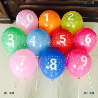 10pcs Latex Number Balloon Birthday Inflatable Balls Aniversary Party Decoration [MULINHE]