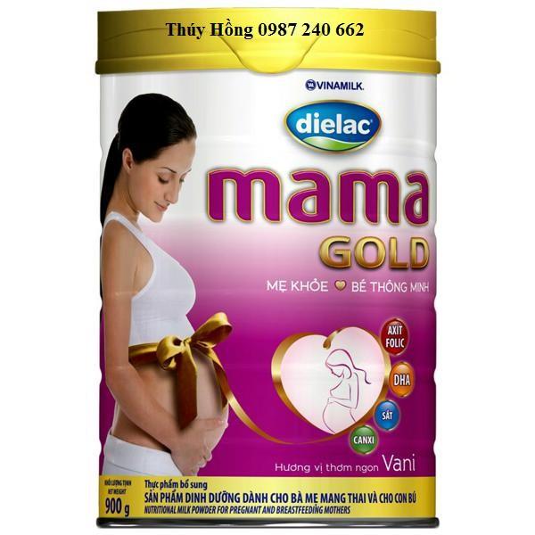 Sữa Bà Bầu Dielac Mama Gold Hương Vani Hộp 900g (Bà mẹ mang thai và cho con bú)