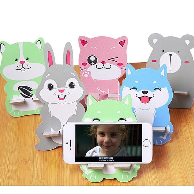 Giá đỡ điện thoại gỗ hình động vật đáng yêu 8,5*,75*13cm