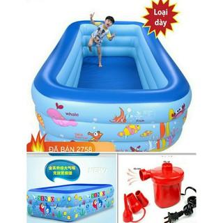 Bể Bơi Phao Bơi Cho Bé có đáy Chống trượt 1m15 -1m30 kém bơm điện