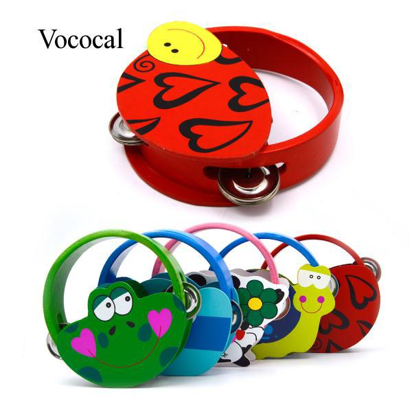Vococal Colorful Cartoon Handbell Tambourine Clap Drum Kids Toy Quantity 1 Random Style