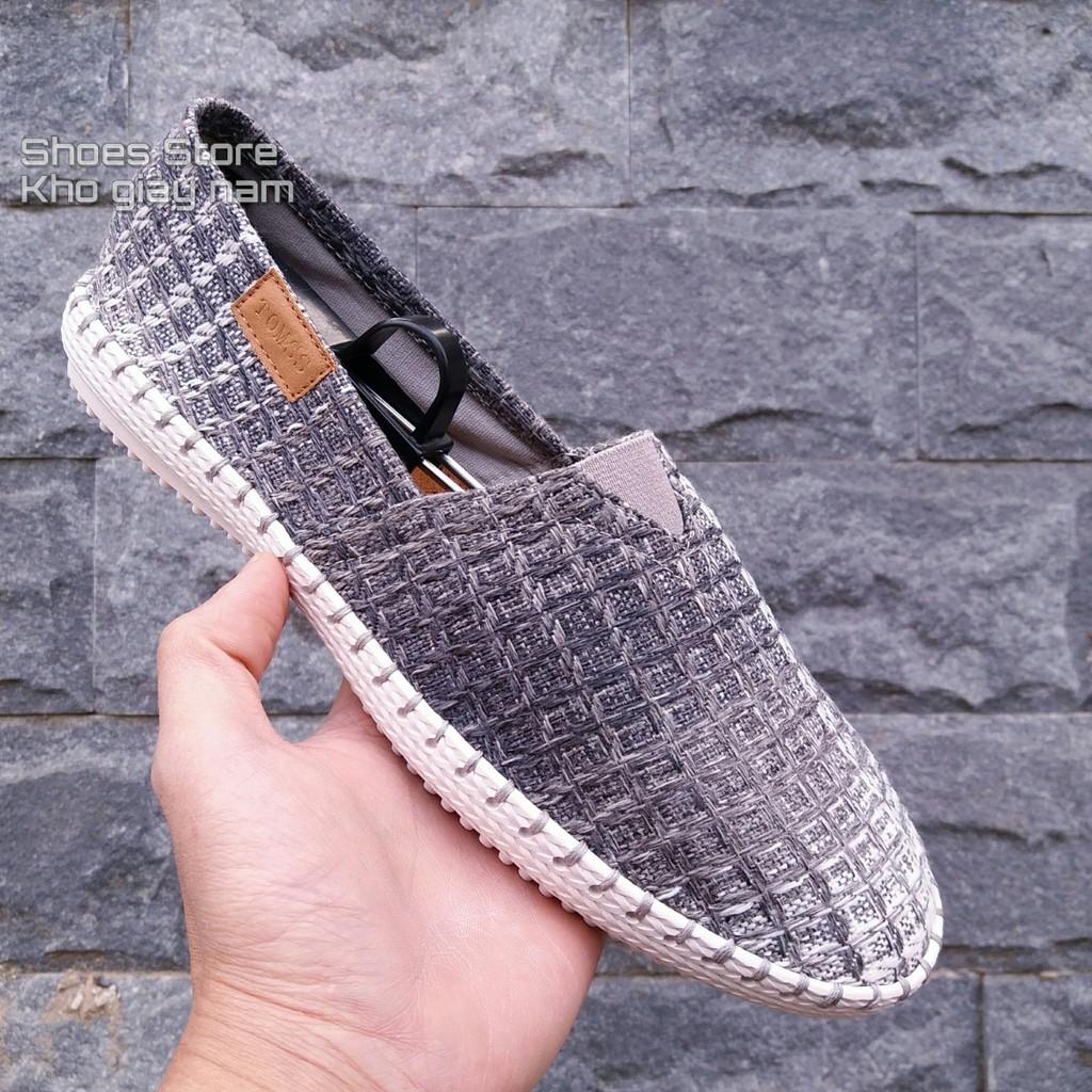 Slip on | giày lười vải nam đế khâu - Mã SP: ZR-thừng.ghi