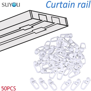 SUYOU Universal Sliding Hook Curtains Accessories Wall Ring Curtain Hooks Home Decor Fixing Holder Durable Curtain Button Plastic 50PCS