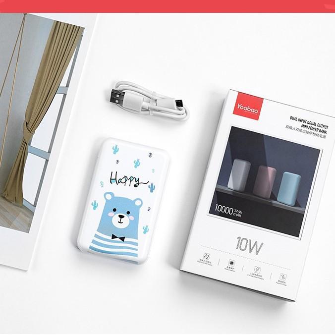 [Mã ELYB11 giảm 11% đơn 11K] Pin Sạc dự phòng Yoobao mini 10000mAh P10W - Hãng chính hãng