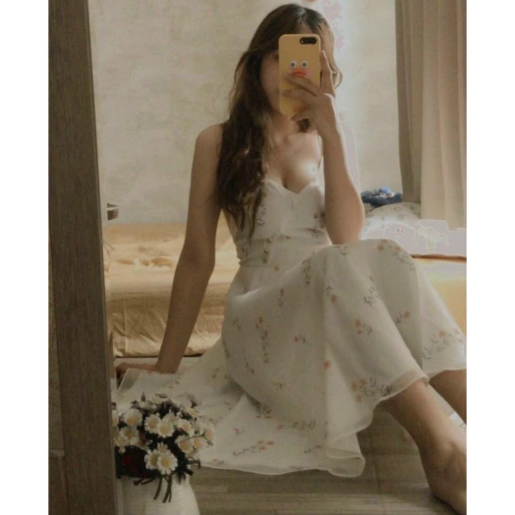 Váy Maxi Cổ Đắp Chéo, Đầm Xòe 2 Dây Họa Tiết Hoa Rơi Chất Voan 2 Lớp Kín Đáo Kiểu Dáng Trẻ Trung Xinh Xắn