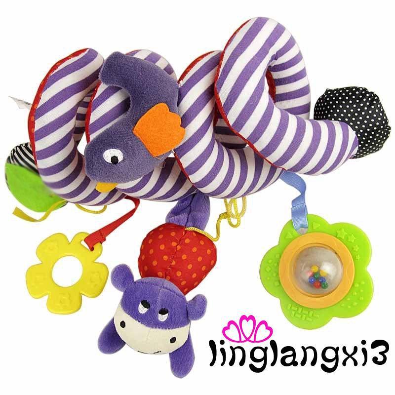 NAG-Christmas Gift Car Plush Bed Crib Hanging Bell Newborn Kids Rattles Mobile