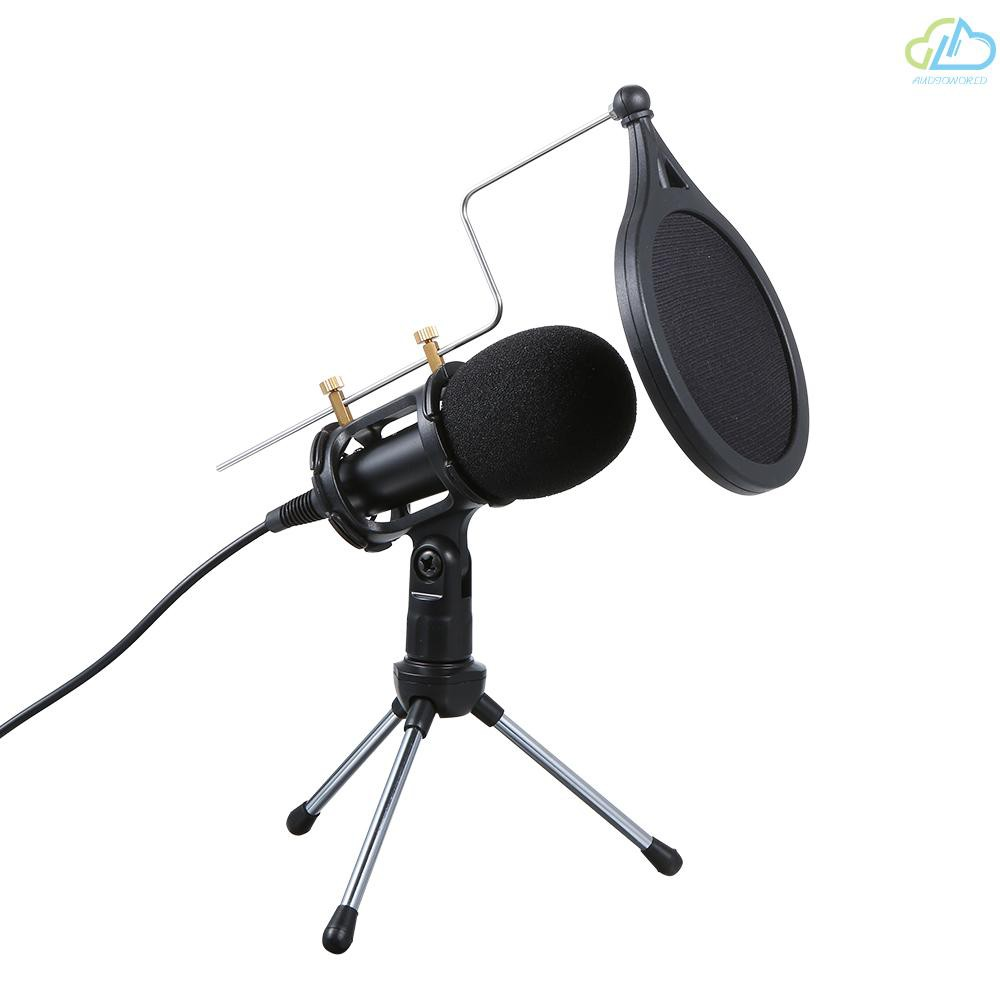 ☁Wired Condenser Microphone Audio 3.5mm Studio Mic Vocal Recording KTV Karaoke Mic with Stand for PC Phone