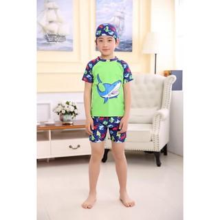 Set đồ bơi bé trai hình cáp mập xanh