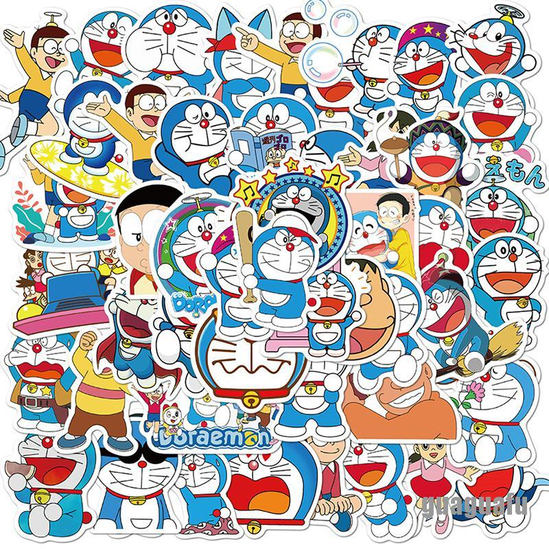 Bộ 50 hình dán Doraemon trang trí laptop/xe máy/xe hơi xinh xắn