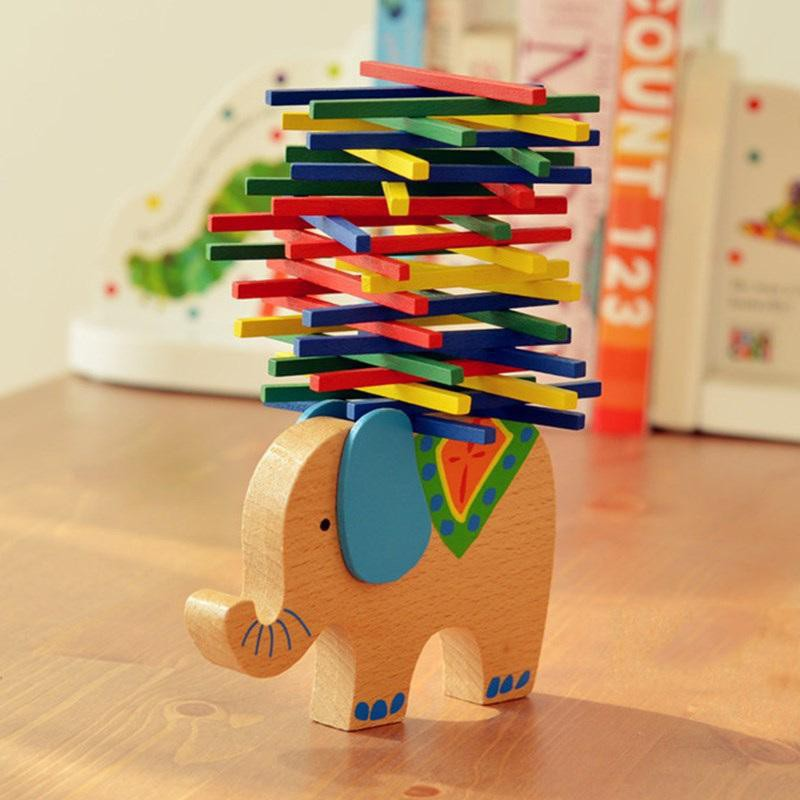 [150K Freeship] Đồ Chơi Gỗ Giáo Cụ Montessori – Voi Cân Bằng Boardgame