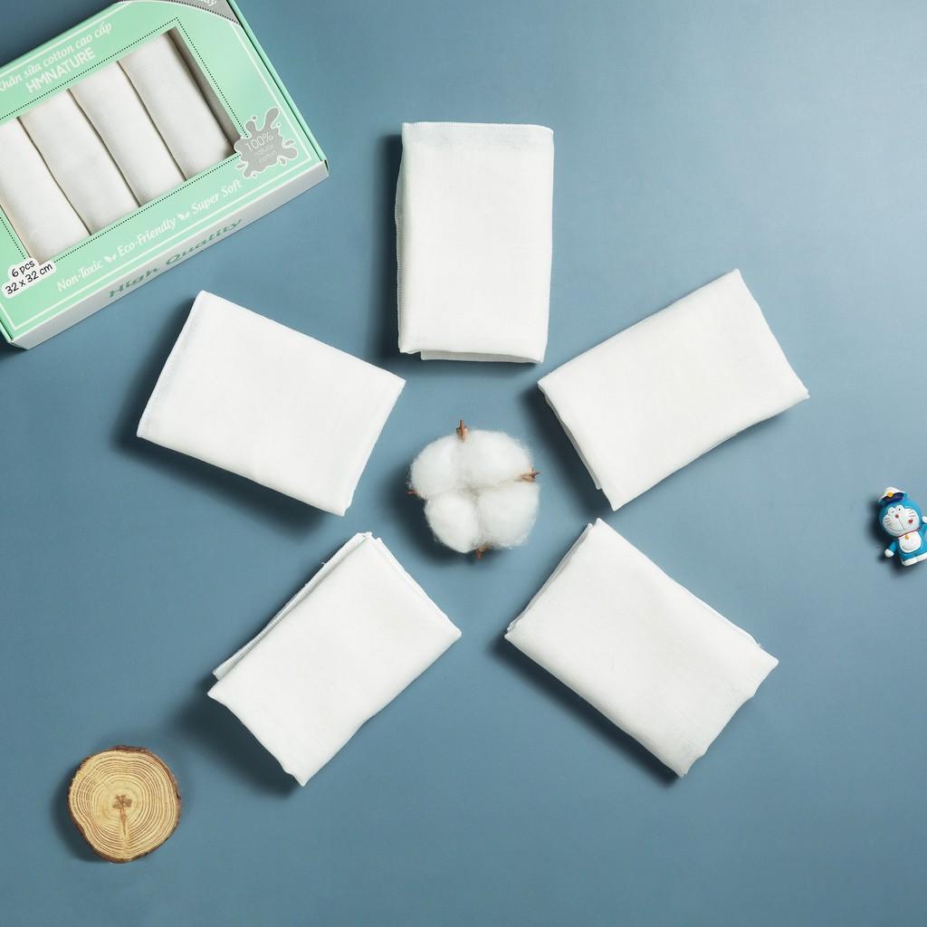 [Hàng chính hãng] Khăn sữa, Khăn xô cho em bé, Khăn sữa cotton cao cấp  HMNATURE- Hộp 6 chiếc