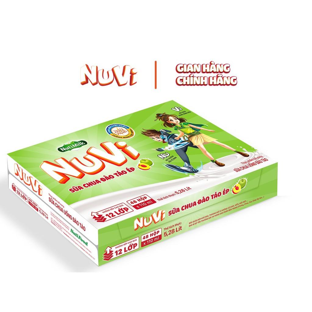 Thùng 48 hộp NuVi Sữa chua uống Đào táo hộp 110ml/hộp