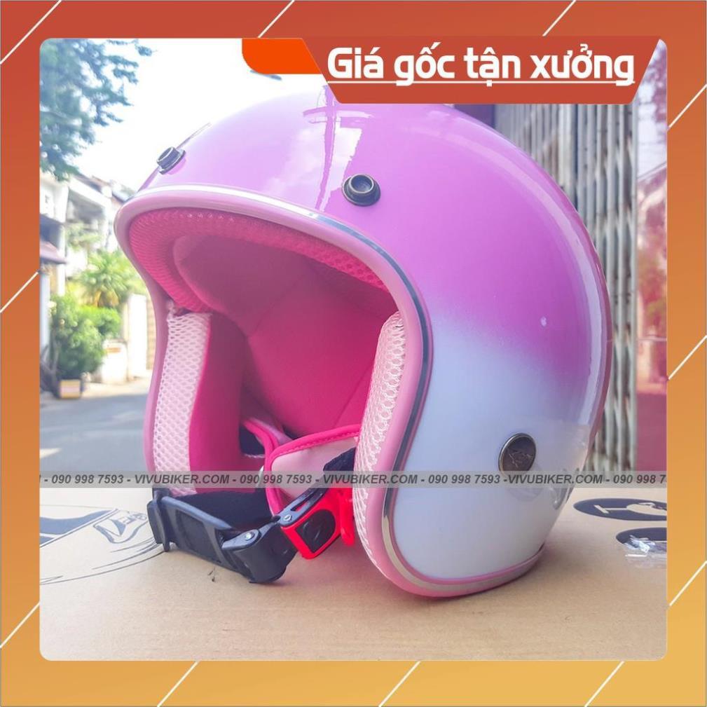 [Giống ảnh] Mũ 3/4 tai mèo màu hồng loan trắng siêu dễ thương - Nón bảo hiểm tai thỏ màu hồng cá tính
