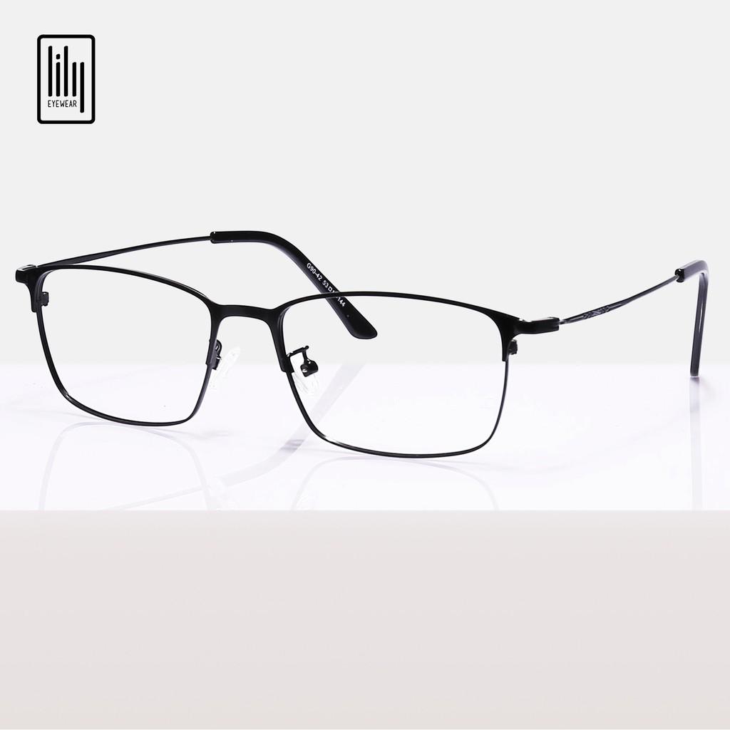 Gọng kính cận kim loại Lilyeyewear, thiết kế mắt vuông phù hợp với nhiều khuôn mặt, ba màu cơ bản - 9042