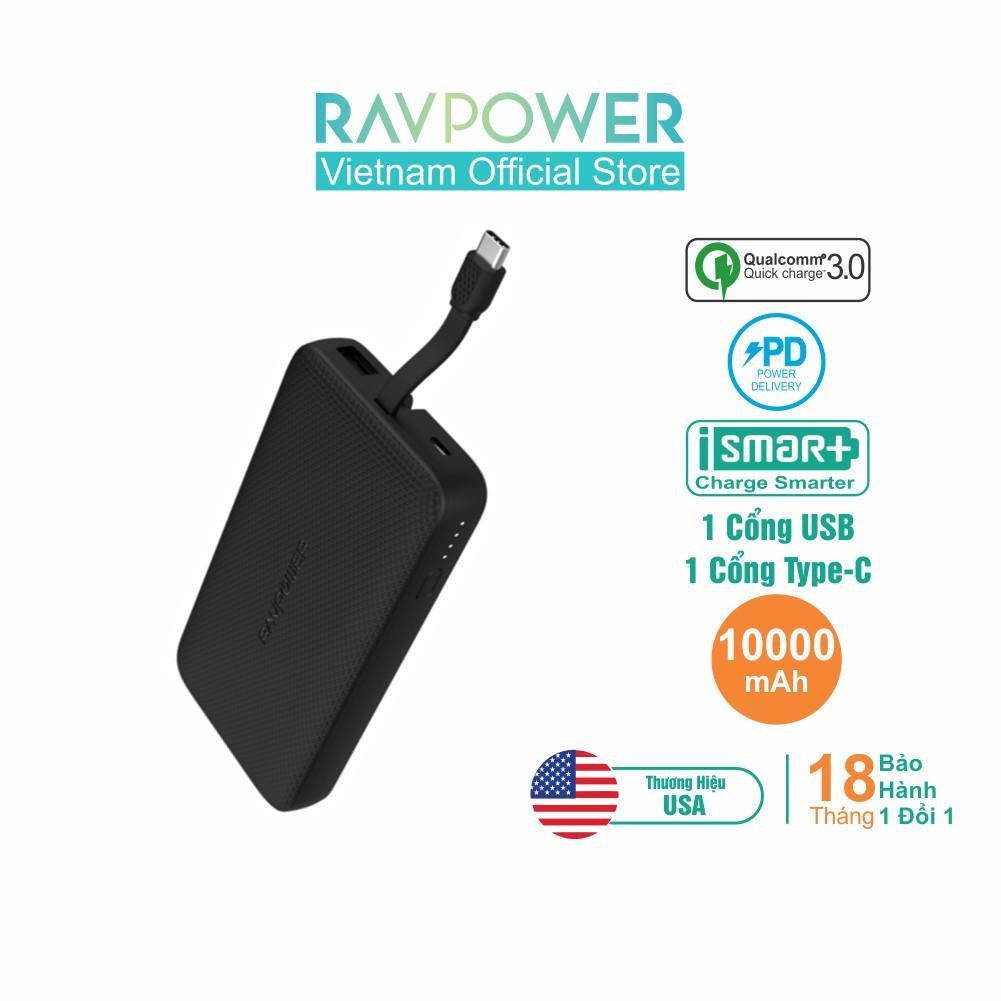 Pin Sạc Dự Phòng RAVPower 10000mAh PD 18W, Tích Hợp Cáp Type-C RP-