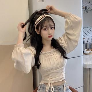 Áo croptop thời trang mùa thu Hàn Quốc tay dài trễ vai quyến rũ cho nữ