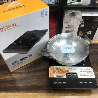 Bếp điện từ đơn cảm ứng Goldsun GIC3200-D, kèm nồi, màn hình led đa chức năng nấu - Bảo hành 12 tháng