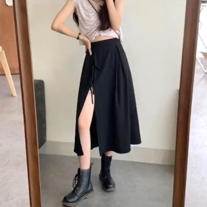 Chân Váy Nữ 🦋 Chân Váy Đen Xẻ Nơ Điệu Đà Siêu Xinh chất tuyết cát thời trang Banamo Fashion chân váy xẻ nơ 593