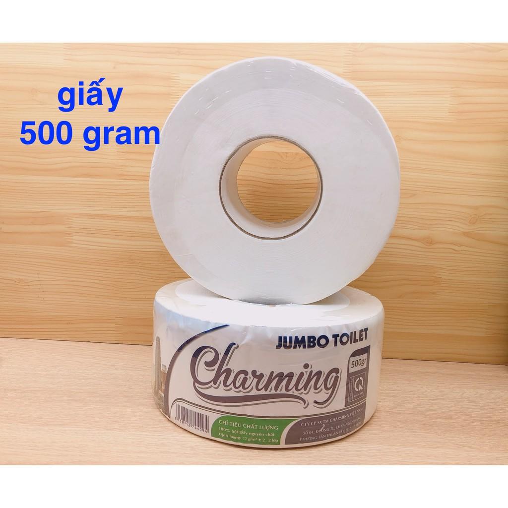 Giấy vệ sinh cuộn lớn 2 lớp 450 gram