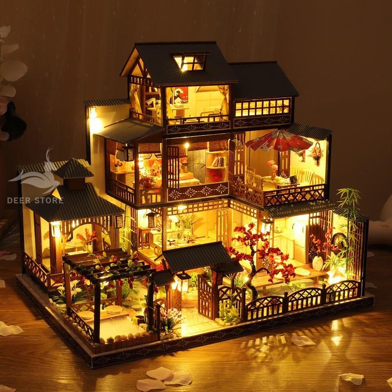 Nhà búp bê tự làm bằng gỗ | TẶNG KHUNG CHE BỤI, dụng cụ làm và 2 bình keo. Nhà mô hình P-006