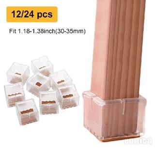 12 hoặc 24Pack Ghế chân vệ Bảo sàn Silicone Ghế bảo vệ chân Chân Mũ bảo vệ đồ nội thất Bàn chân Ghế bảo vệ vuông