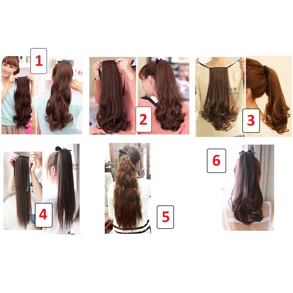 Tóc giả cột, tóc buộc xoăn tơ cao cấp, dày 100-110g