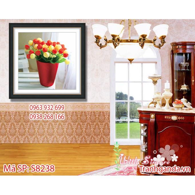Tranh Gắn Đá Hạt Tròn (đục) Cao Cấp S8238 - Những Bông Hoa Khoe Sắc (48x48cm)