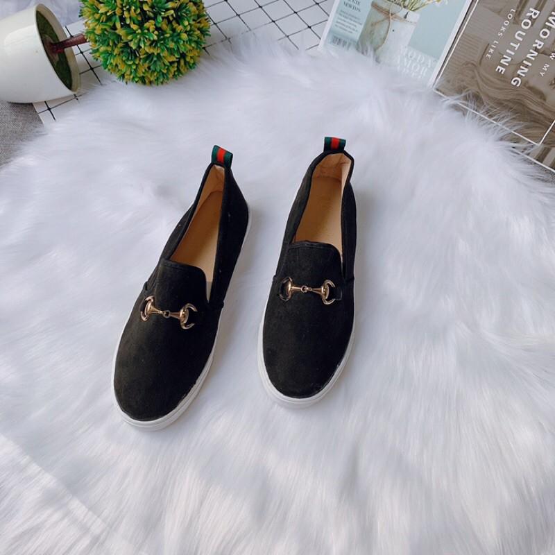 [Xưởng giày HN] Giày lười nữ, Slip on da lộn gót kẻ tag xích đang rất hot -Ảnh thật