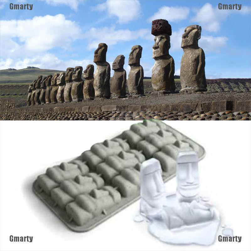 Gmarty Easter Island Moai Stone Statues Ice Tray Ice Cubes DIY Mould Pudding Jelly Mold