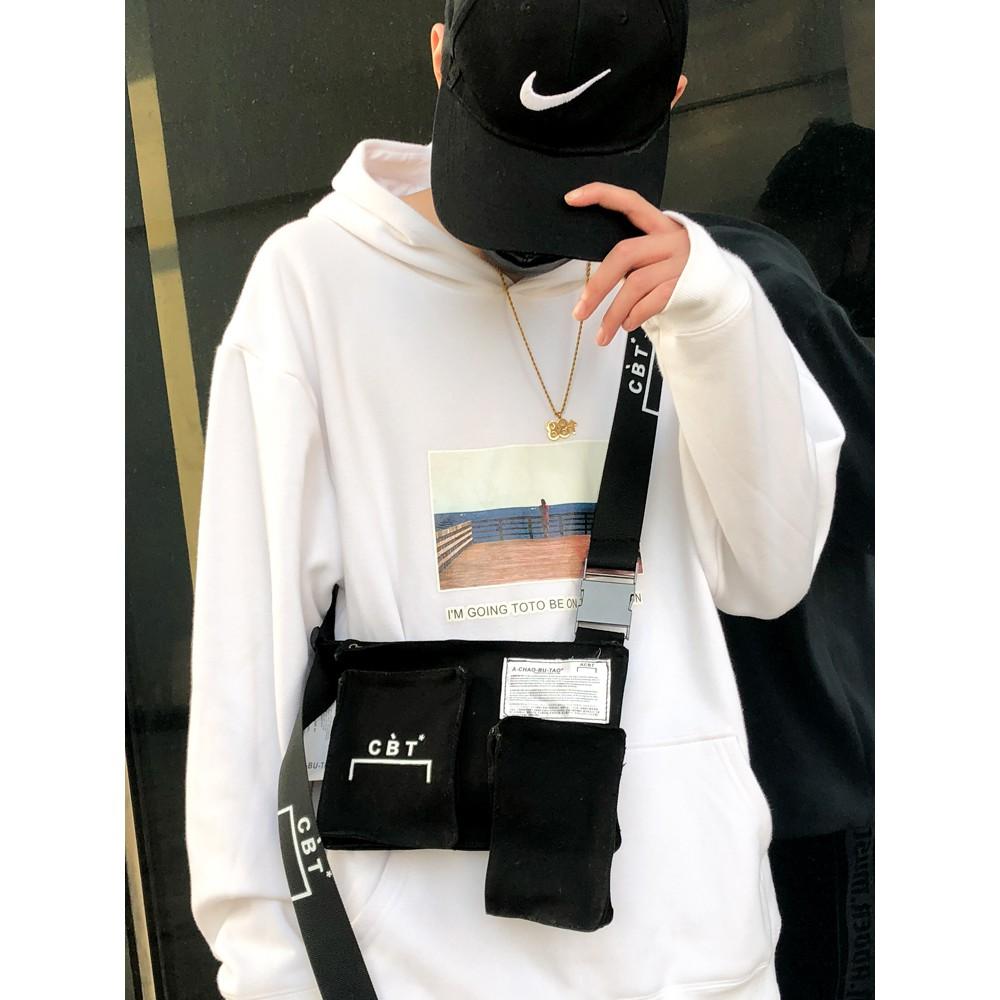 กระเป๋าแบรนด์ Tide ผู้ชายซูเปอร์ไฟเครื่องกระเป๋าหน้าอกยุทธวิธีไก่สุทธิสีแดงกับระดับที่สองของกระเป๋าเอียงน้ำฮิปฮอป马蹦包แพคเ