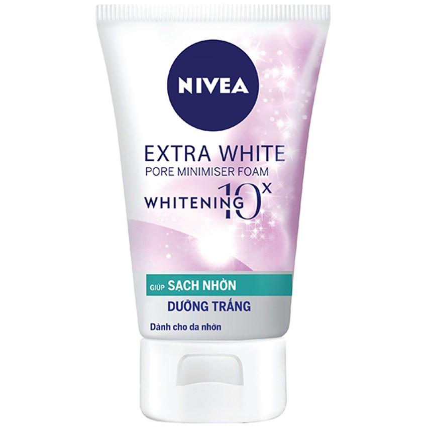 Sữa Rửa Mặt Nivea Dưỡng Trắng Sạch Nhờn Extra White Pore Minimiser Foam 50g