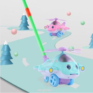 Funny Detachable Educational Kids Gift Tongue Out Cartoon Plane With Bell Hand Push Baby Walker Toy