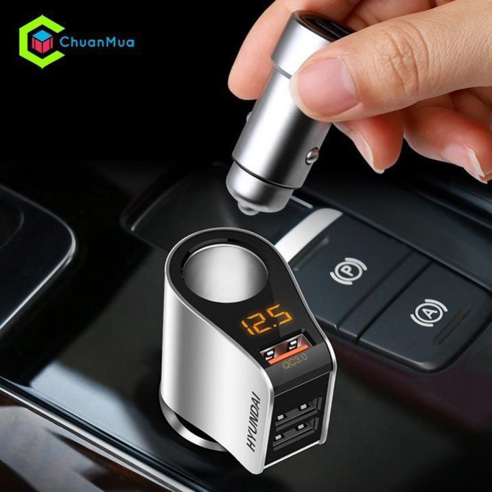 Tẩu sạc ô tô-Tẩu Sạc Nhanh ô tô QC 3.0 Hyundai HY-10HÀNG CHÍNH HÃNG  dùng được cho mọi loại xe