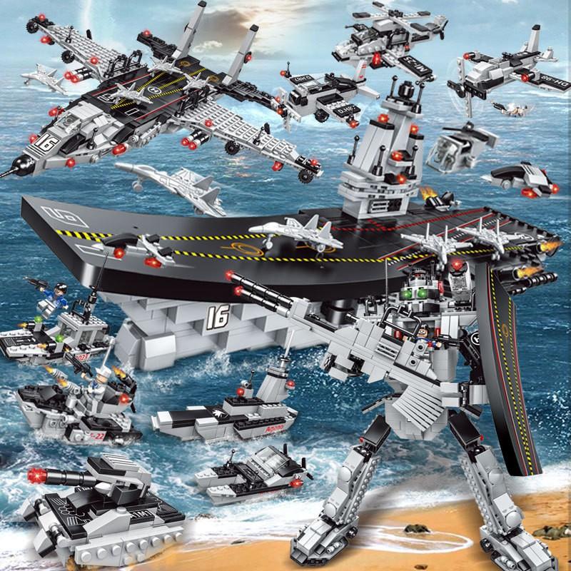 [728 CHI TIẾT] Bộ đồ chơi Lego chiến hạm lắp ráp mô hình Lego Tàu Sân Bay , Tàu chiến , Lego Robot