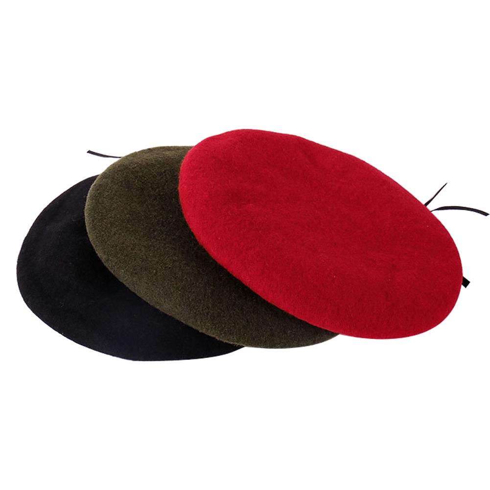 Men Women Fashion Soft Spring Painter Style Solid Adjustable Wool Felt Flat Beret
