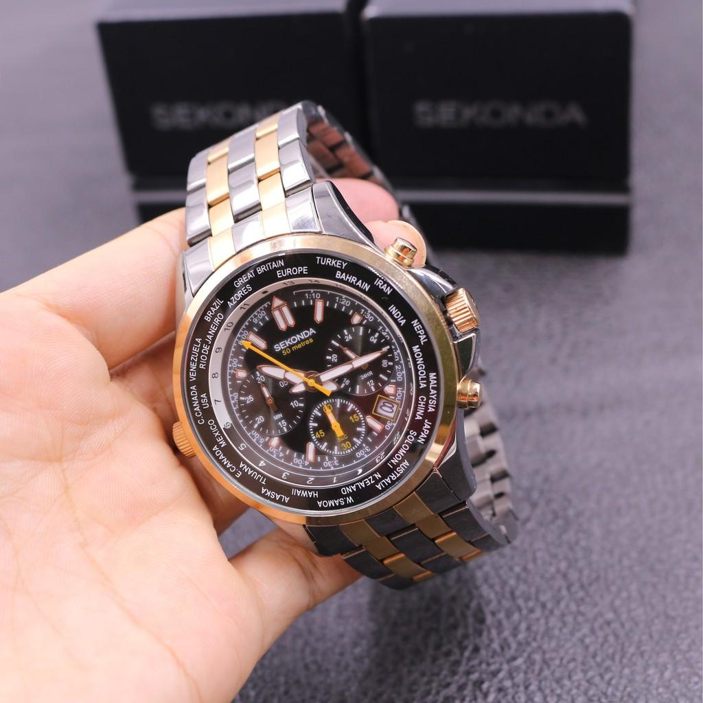 Đồng hồ nam SEKONDA CHRONOGRAPH 1025 dây kim loại thương hiệu Anh Quốc