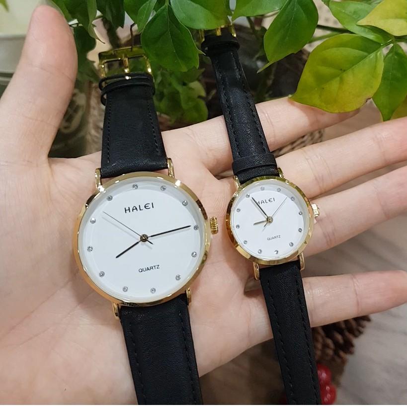 Đồng hồ đôi nam nữ HALEI dây da số vạch cổ điển siêu mỏng thời thượng