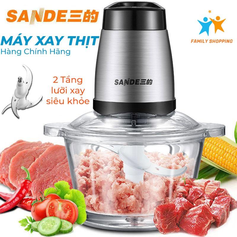 [Mã 267ELSALE hoàn 7% đơn 300K] [Chính hãng] Máy xay thịt đa năng Sande 4 lưỡi dao thép không dỉ, xay nhuyễn thực phẩm