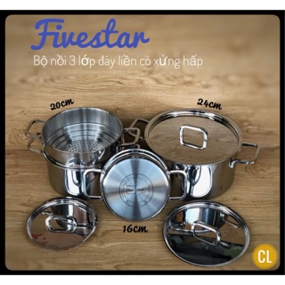Bộ nồi inox Fivestar 3 lớp đúc liền – inox 304