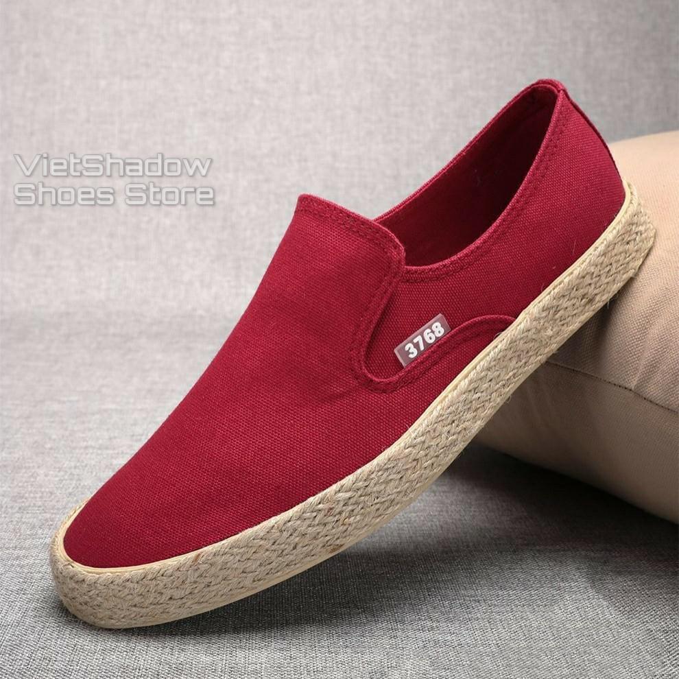 Slip on nam - Giày lười vải nam cao cấp thương hiệu 3768 - Vải thô 4 màu (đen), (khaki), (Xanh), (Đỏ) - Mã SP 616C